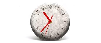 """Button-Uhr Motiv """"Vintage"""", Zeigerfarbe rot Vorschaubild"""