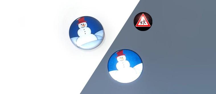 Reflektorbutton mit Schneemann