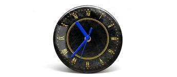 """Button-Uhr Motiv """"Gold"""", Zeigerfarbe blau Vorschaubild"""