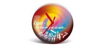 """Button-Uhr Motiv """"ZuSpät 2"""", Zeigerfarbe rot Vorschaubild"""