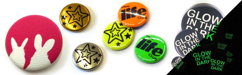 Sonderoptiken Stoffbutton, Neonbutton, fluoreszierende Buttons, Metallicbutton