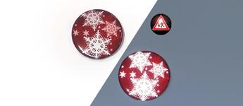 Reflektorbutton mit Schneeflocken, rot Vorschaubild