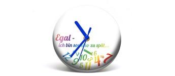 """Button-Uhr Motiv """"ZuSpät 1"""", Zeigerfarbe blau Vorschaubild"""