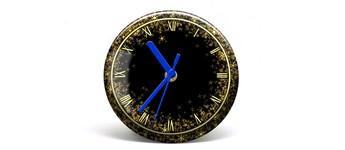 """Button-Uhr Motiv """"Glitter"""", Zeigerfarbe blau Vorschaubild"""