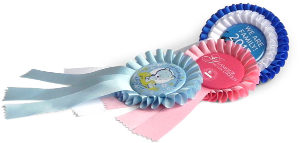 Rosettes with button, ribbon, winner badge