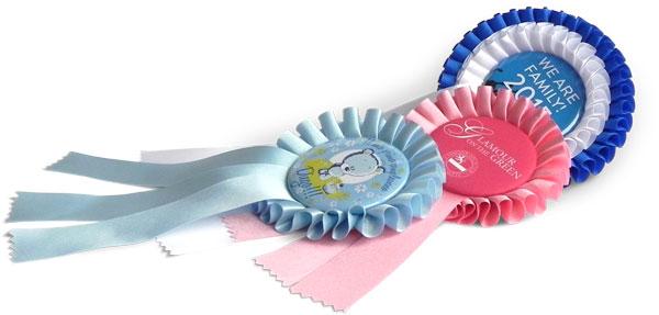 Rosettes with badge, ribbon, winner badge