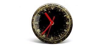 """Button-Uhr Motiv """"Glitter"""", Zeigerfarbe rot Vorschaubild"""