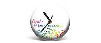 """Button-Uhr Motiv """"ZuSpät 1"""", Zeigerfarbe schwarz Vorschaubild"""