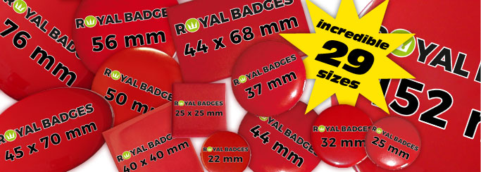 information about badge sizes