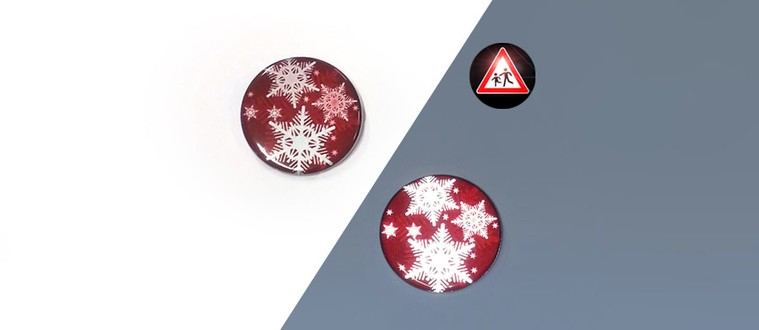 Reflektorbutton mit Schneeflocken, rot