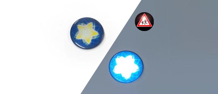 Chapa reflectantes con estrella azul