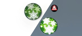 Reflektorbutton mit Schneeflocken, grün Vorschaubild