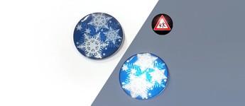 Reflektorbutton mit Schneeflocken, blau Vorschaubild