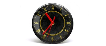 """Button-Uhr Motiv """"Gold"""", Zeigerfarbe rot Vorschaubild"""
