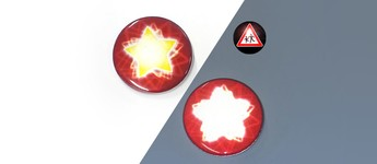 Reflektorbutton mit Stern, rot Vorschaubild