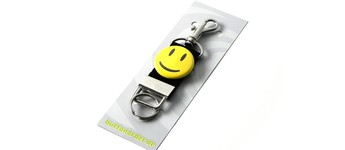 Portachiavi nastro con spilla Happy Smiley: giallo