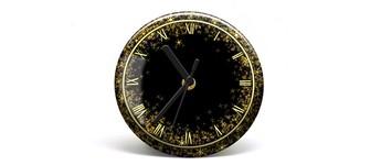 """Button-Uhr Motiv """"Glitter"""", Zeigerfarbe schwarz Vorschaubild"""