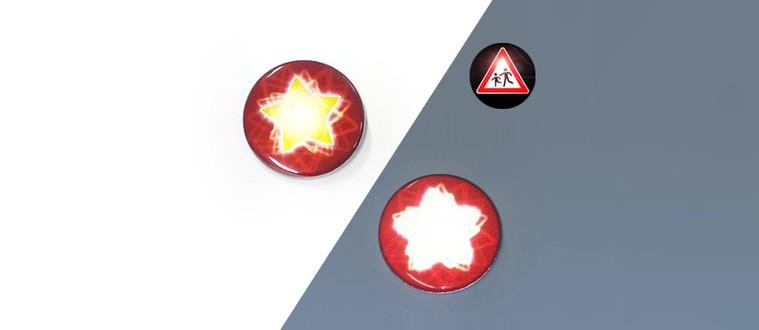 Reflektorbutton mit Stern, rot