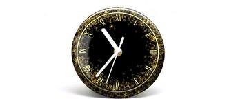"""Button-Uhr Motiv """"Glitter"""", Zeigerfarbe weiß Vorschaubild"""